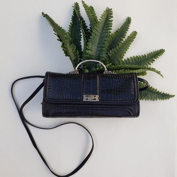 Brighton Handbags - Brighton Vintage Black Leather Handbag with Strap